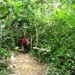 Walking 500m from the port to our lodge, deeper in the jungle.
