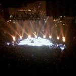 Billy Joel concert, from our spot up in the nose bleeds.  The faint dark smudge in the semi-cent
