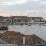 view of St. Ives harbour from hotel parking lot