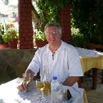 Hubby enjoying the local wine in Valentina's