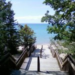 Looking down staircase to beach on Grand Traverse Bay.