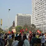 trying to find my way out of the communist rally.. with a statue of Indira Gandhi looming