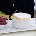 Marzipan Happy Bday, Grand Marnier souffle, fresh berry sorbet & vanilla sauce