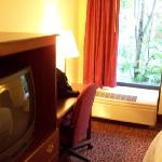  TV &amp; desk (not much of a view outside; another hotel right next door)