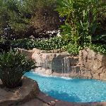 Waterfall corner at swimming pool