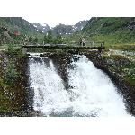 waterfall along path Myrdal-Vatnahalsen