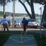  Shuffle Board at Balm Beach Resort.. Beach in background.
