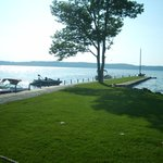 view of Torch Lake from dining deck