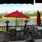  View out the restaurant of the patio and river