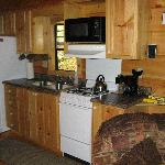 Kitchen area in Moondance, bathroom is to the left there and bedroom is straight back