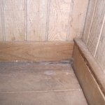 Dirt on sauna floor