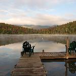 Mist rising off Heart Lake...steps from the Loj door