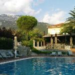 Pool area in late afternoon with Mount Taygetos in the background