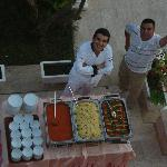 Manager and chef with his delicious food