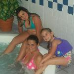  me and my kids enjoying the hot tub!