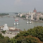 on the Danube River is the Red Bull Air Race out in front of the Hungarian Parliment Building