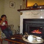  Enjoying my tea by the fireplace