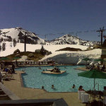 Pool side in the snow. Top of squaw valley wow for a luncheon with prospects!