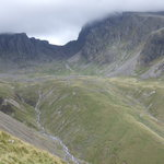 Path between Scafell Pike (left) & Scafell (right),Lake District,Cumbria.