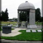 The memorial is a granite dome supported by three pillars under which Jimi Hendrix is interred.