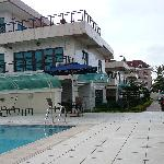 view of the property from poolside