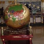 The big globe in the spacious lobby.