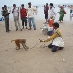 Nearby Juhu Beach with dancing monkey
