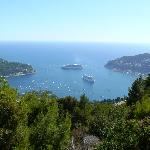  View over Villefranche&#39;s harbour by the bus stop, 1 min walk from the hotel