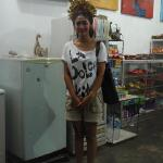Legong dancer in the store next door