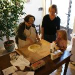 Pasta-making lesson from the hostess.