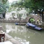 View from the restaurants along the canal, just outside the main entrance of the house