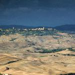 Telephoto view of Pienza from terrace