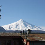 Volcan Villarica from rooftop patio.