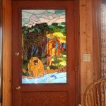 Stained Glass door handcrafted by the owner, Val