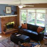 Sunken Family Room with wood burning fireplace