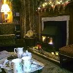 Tea and biscuits in front of the fire