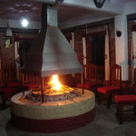 fire place in the restaurant
