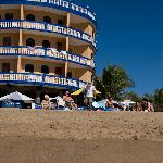 One of the main buildings beside the pool and beach
