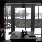 Dining table by the french windows