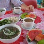 Pho and fruits for breakfast
