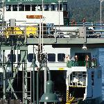 Ferry pulls up to second floor window