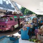 Bondowoso Bus Terminal. The pink van is the one that goes to Ijen area & can drop you off at Ara