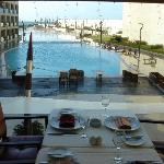 the view of the pool from the restaurant.