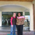 Manager and I at hotel in Musanze, wonderful location and great folks.