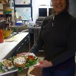  Sharon, one of the owners with her creation.