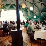 Inside the dining dome.