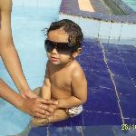 I and my daughter at swimming pool