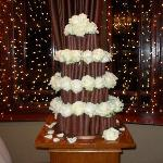  our cake and lighting behind