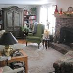 Aggie's living room, and fireplace