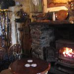 Wood burner in tghe bar area.